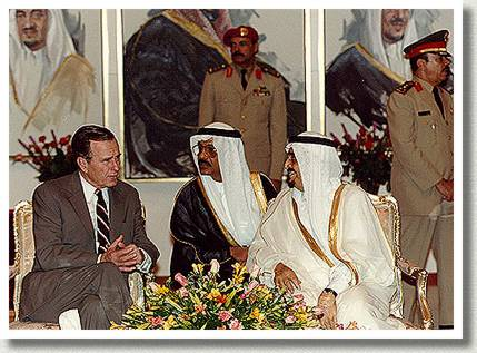U.S. President George Bush and Saudi King Fahd, Saudi Arabia, 21 November 1990.