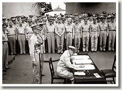 Surrender Ceremonies on the USS Missouri, Tokyo Bay, Japan, 2 September 1945.