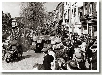 Crowd Welcoming Canadian Soldiers, Leeuwarden, Netherlands, 16 April 1945.