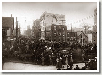 """First Canadian Contingent Leaving Toronto,"" 1899."
