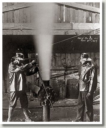 Gas Gushing from a Well, Turner Valley, AB, June 1914.