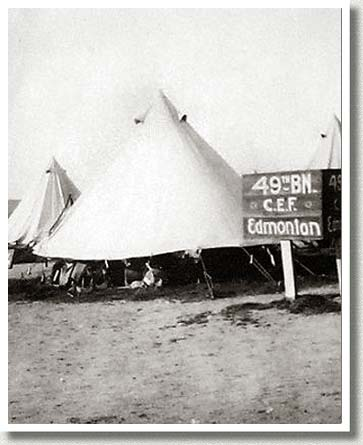 49th Battalion Tent, Shorncliffe, England, June 1915.