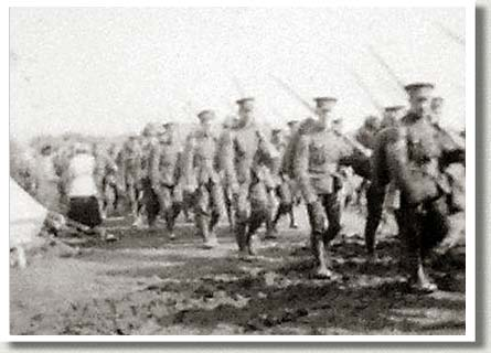 Members of the 49th Battalion Marching through Camp, Shorncliffe, England, 1915.