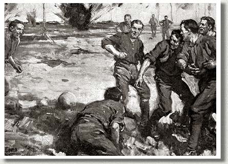 Canadians Take To Football ca. 1916, by Cyrus Cuneo.