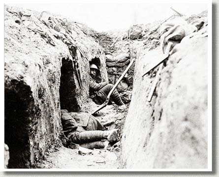 "Canadian Trench Showing ""Funk Holes"", France, 1917."