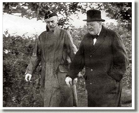 Churchill Visits General A.G.L. McNaughton, Britain, 1940.