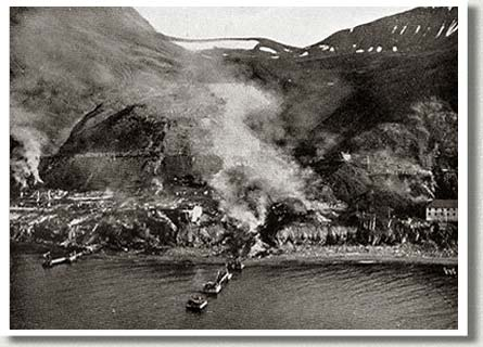 A Mining Town in Flames, Spitzbergen, Norway, September, 1941.