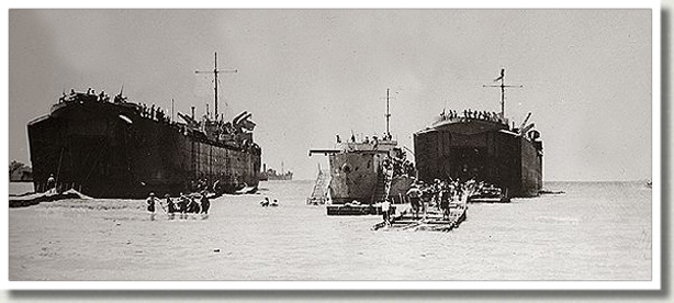Canadian Troops Disembark from Landing Craft, Pachino, Italy, July 1943.