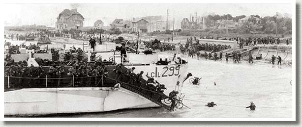 Canadian Troops Disembark their Landing Craft, Normandy, France, 6 June, 1944.