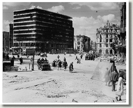Canadians in Potsdam Place, Berlin, Germany, 9 July 1945.