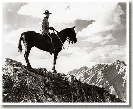Royal Canadian Mounted Policeman on Patrol in Rockies, 1937.