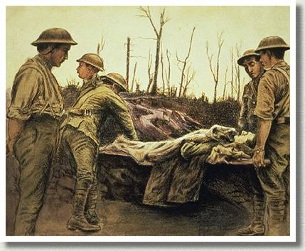Stretcher Bearers in a Trench, by Richard George Mathews.