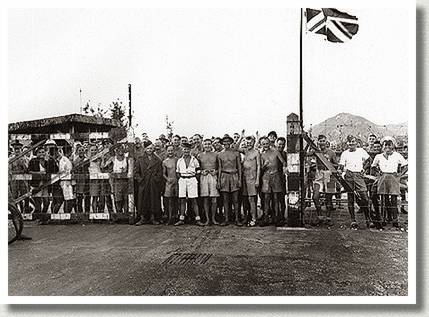 Canadian and British Prisoners of War Awaiting Liberation, Hong Kong, 30 August 1945.