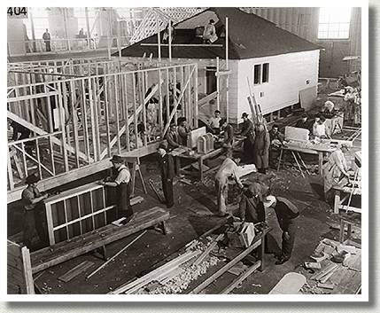 Ex-servicemen Constructing a House at the Edmonton Rehabilitation School, Edmonton, Alberta, March 1946.